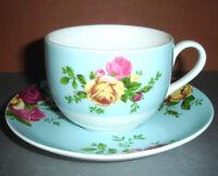 Royal Albert Country Rose Aqua Teacup & Saucer Set New In Box
