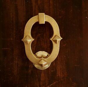 Antique Victorian brass Gothic Revival door knocker, unusual figure eight style.