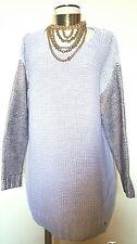 Natalie Wood Purple & Gold Metallic Keyhole Oversized Sweater Dress Size M