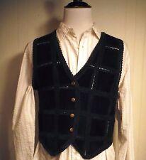 Vintage Joujou Woman's Black Leather & Lace Hippie Boho-Chic Vest Size Large L