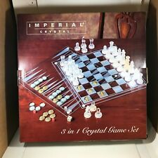 IMPERIAL Crystal Games Set Chess Checkers Backgammon