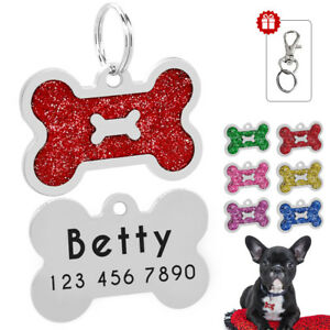 Glitter Bone Shape Personalized Dog Tags Engraved Pet ID Name Collar Tag Charm