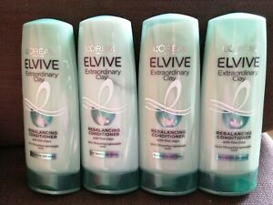 4 X Loreal Elvive Extraordinary Clay Re Balancing Conditioner 400ml Oily Roots