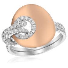 Diamond Circle Right Hand Cocktail Ring 18K White Rose Gold Brushed Matte Pave