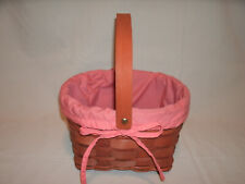 Wood Wooden Woven Basket with Peach / Pink Colored Cloth Lining