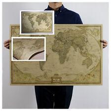 Retro Nostalgia Cartel Mapa del Mundo Estilo Pergamino Póster Gigante Pared