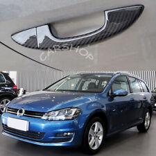 For VW Golf 6 Passat Dry Real Carbon Fiber Car Door Side Handle Cover W/O Sensor