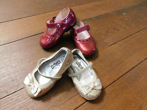 Circo Toddler Lot Gold Sequin Bow Mary Janes & Cherokee Burgundy Patent Dress