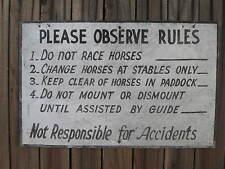 """VTG 1940's ORIGINAL Horse/ Stable/ Horseback Riding Large METAL SIGN...22"""" x 14"""""""