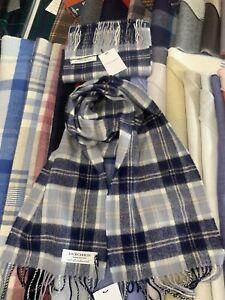 100% Lambswool tartan Scarf by Lochcarron   Bannockbane Grey   Made in Scotland