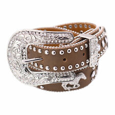 New Nocona Belt Co Girl's Western Horse and Rhinestone Belt