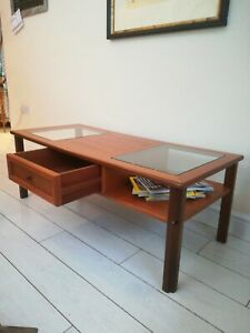 Vintage G Plan Teak Mid Century Coffee Table Twin Glass Topped with Two Way Draw