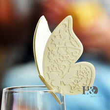 60pcs Ivory Double-deck Butterfly Glass Place Name Cards Wedding Favour Decor