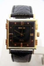 NOS 18K Gold JUVENIA MACHO Mens 25J AUTOMATIC Watch 8902 Black Dial & 4Bars Case
