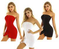 Women Ladies Bodycon Dress Strapless Tube Top Mini Dress Evening Party Clubwear