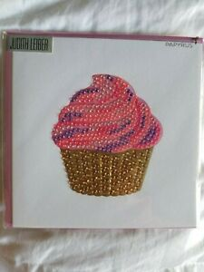 Papyrus Gemmed Rainbow Cup Cake Cone Birthday Card JUDITH LEIBER COUTRE - NEW