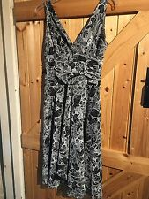 "Lovely M&Co Dress Size 12 Petite Grey & Black Chest 36"" Lined Stretchy Dress"
