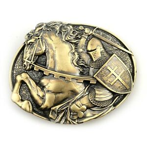 Belt buckle Fighting Knight, Medieval military solid brass belt buckle
