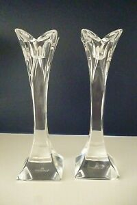 Pair of NACHTMANN - German Crystal Candle Sticks/Holders 16cm tall - Signed -VGC