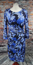 Almost Famous Shift Dress Ruched Gathered Blue Oil Spill Paint Splash Size 14