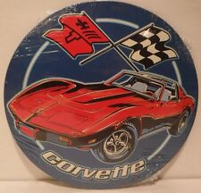 "New 12"" Chevrolet Corvette Round Metal Tin Blue Sign - decor garage bar mancave"