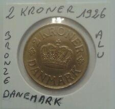 Monnaie du Danemark 2 Kroner 1926 Bronze Alu