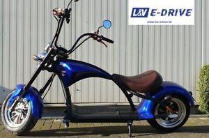 Elektroroller E Scooter Citycoco Chopper 45km/h  m. Strassenz. blau