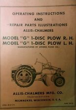 Allis Chalmers Agri Farm Tractor G 1 Disc Plow Rh Amp Lh Owner Amp Parts Manual