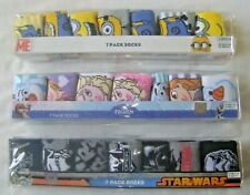 FROZEN STAR WARS MINIONS 7 PACK KIDS SOCKS OFFICIAL GIFT PACK NEW