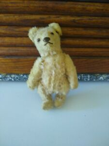 Miniature Mohair Jointed Golden Yellow Teddy Bear Toy probably stieff 6 inch