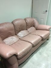 3 Seater Pink Leather Sofa & 2 Arm Chairs - Used