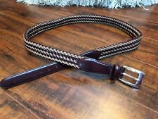 Vintage Brighton Woven Brown and Tan/s LEATHER with Silver Hardware Buckle sz 42
