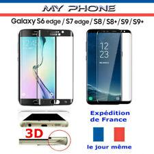 VERRE Trempé GALAXY S9/S8/S7/S6/EDGE PLUS NOIR Vitre Protection Ecran Intégrale