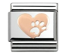 HEART + PAW PRINT Genuine Nomination Classic Link Italian Charm 9ct ROSE GOLD