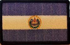 EL SALVADOR  Flag Patch Military With VELCRO® Brand Fastener Black Border