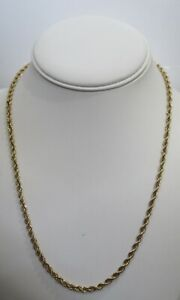 """10K Solid Yellow Gold Twisted Rope Chain 20"""" Necklace Hallmarked BBB 4.2g"""