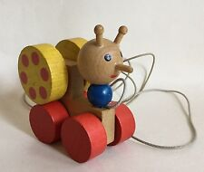 Vintage Small Wooden Pull Along Snail On Wheels Toy Nursery Infant School Child