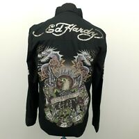 Ed Hardy Mens Shirt LARGE Long Sleeve Black Regular Fit Kiss of Death Cotton