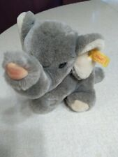 "Steiff Plush Elephant 8"" Grey Blue Bow 083204"