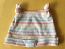 Baby All Season Pastel Stripe Baby Patch Twin Knot Top Cotton Newborn Beanie
