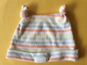 Baby PATCH Pastel Stripe Twin Knot Top Cotton Newborn Beanie