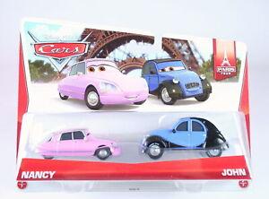 DISNEY CARS Paris Tour 2 pack NANCY + JOHN 1:55 diecast toys Pixar - NEW!