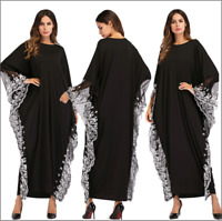 Abaya Muslim women Bat sleeve Loose Dress Robe Kaftan Jilbab Maxi Robe Gown