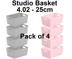 Wham Studio Basket Office 4.02-25 cm Pack of 4 Mrs Hinch Bathroom Kitchen Home