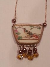 Vintage Broken China Jewelry Necklace Green Red Dove Pendant