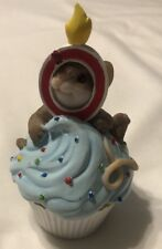 New Enesco Charming Tails Happy Birth day Mouse Cupcake Candle Figure NIP