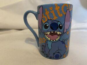 Disney Store Authentic Lilo STITCH Blue Orange Slogan Large Ceramic Coffee Mug