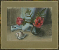 Winifred Evans - Framed Mid 20th Century Pastel, Pink Poppies and Shell