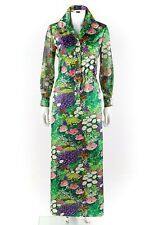 Vtg Lisa Cobb c.1960's Floral Garden Print Long Sleeve Shirtwaist Maxi Dress