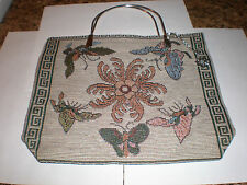 Flower and butterflies tapestry fabric purse-metal handles w/key chain